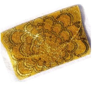 Vintage MAGID Gold Beaded Embellished Clutch Bag